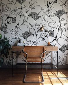 Monochrome Floral Wallpaper, Wall Mural, Floral Home Décor, Floral Decorations, Large Floral Design, Wall Decal, Removable Wallpaper B006 by Betapet on Etsy https://www.etsy.com/listing/551648773/monochrome-floral-wallpaper-wall-mural