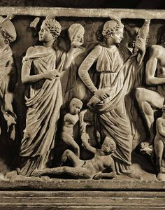 ROMAN RELIEF 3RD-6TH  The Three Parcae (Fates)    Louvre, Departement des Antiquites Grecques/Romaines, Paris, France
