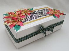 Tinyrose's Craft Room: Poinsettia decorated Christmas Box Door Crafts, Poinsettia, Trip Planning, Something To Do, Card Stock, Decorative Boxes, Crafty, Room, Christmas