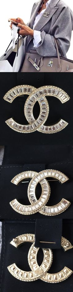 Pins and Brooches 50677: New Chanel Classic Crystal Cc Logo Large Gold Tone Brooch Pin 2016 -> BUY IT NOW ONLY: $850 on eBay!