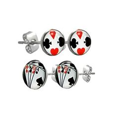 Two Pair Set of Mens Stainless Steel Playing Card & Symbols Stud Earrings £8.99
