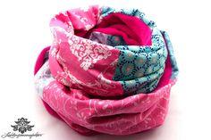 Ausgefallener Loopschal von #Lieblingsmanufaktur: pink und hellblau