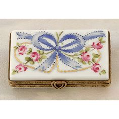 Limoges ribbons and roses letter box