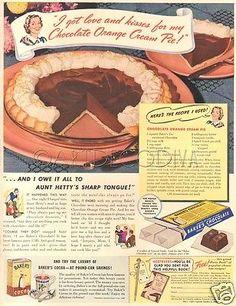 VTG 1940 Baker's Chocolate Orange Cream PIE Pink Pottery Plate RECIPE Kitchen Ad