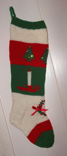 I GUARANTEE YOU WILL RECEIVE THE STOCKINGS BEFORE CHRISTMAS 2014. PLEASE ORDER AS SOON AS YOU CAN.      This is a new hand knit Christmas stocking, about