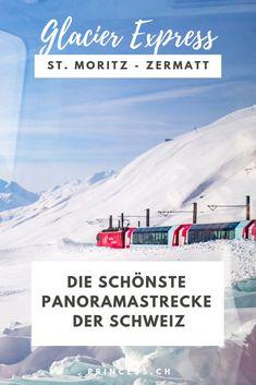 Unterwegs mit dem Glacier Express in der Schweiz von St. Moritz bis nach Zermatt. Der langsamste Schnellzug der Welt durch verschneite Landschaften und die Schweizer Berge. Alles was du dazu wissen musst: Route, beste Reisezeit, an Board essen, Highlights, Angebot usw. Zermatt, Glacier Express, Reisen In Europa, Europe Travel Guide, All Over The World, St Moritz, Travel Inspiration, Messages, Explore