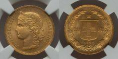 Beautiful Swiss Gold Coin 1896B Five Francs NGC MS 63 Swiss Confederation