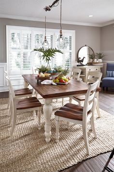 Country cottage chic is served fresh with the Marsilona dining room table. Vintage-inspired design and distressed accents exude a timeworn and well-loved appearance.