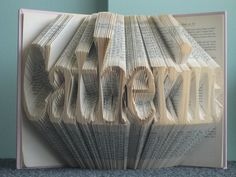 Custom Folded Book Art Sculpture  your name here  by RecycledReads, $145.00