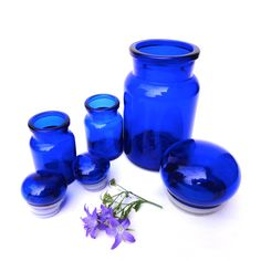 Cobalt Blue Glass Jars Glass Canisters Storage by oldamsterdam, $28.00
