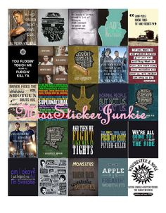 Supernatural Quote Stickers for Erin Condren Life Planner *Digital Download* Winchester Brothers TV Show