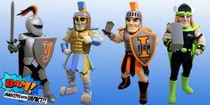 Mascot's collection of Knights and Warriors. University of Jamestown Knight, Greeley West High School Spartan, Indiana Institute of Technology Warrior and Sydney thunder Thor West High School, Palmetto State, Mascot Costumes, Knights, Thor, Indiana, Warriors, University