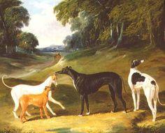 John Frederick Herring d.Ä. 1795 - 1865)Greyhounds, 'Spot', 'Skylark', 'Nettle' and 'Sky'(1839