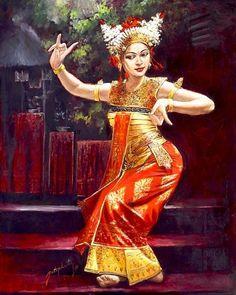 Lukisan penari bali ( Bali dancer ) - oil on canvas - 100 x 120 cm - harga nego