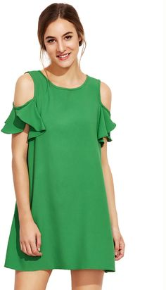 Shop Green Cold Shoulder Ruffle Sleeves Shift Dress at ROMWE, discover more fashion styles online. Linen Dress Pattern, Dress Patterns, Summer Office Attire, Dress Shirts For Women, Clothes For Women, Latest Ankara Dresses, Cute Dresses, Casual Dresses, Pretty Outfits