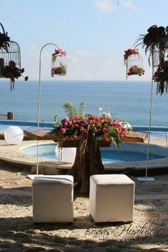 Decoración de ceremonia ideal para tu boda en playa por Bodas Huatulco
