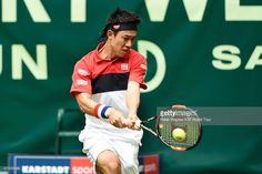 Kei Nishikori of Japan in action winning against Dominic Thiem of Austria at the Gerry Weber Open, on June 16, 2015 in Halle, Germany. (Photo by Peter Staples/ATP World Tour/ATP via Getty Images).