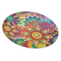 Bright Colorful Abstract Flower Pattern #Plate