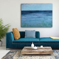 Contemporary large scale seascape painting by New England artist. Outdoor Sofa, Outdoor Furniture, Outdoor Decor, Ocean Paintings, New England, Scale, Throw Pillows, Contemporary, Bed