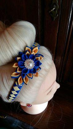 EN venta Kanzashi flor diadema azul real escuela hairband