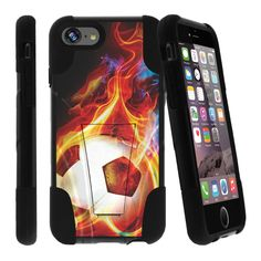 Apple iPhone 7 4.7 Case STRIKE IMPACT Double Layered Kickstand Case - Blazing Soccer Ball