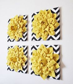 Yellow crafts Room - TWO Wall Flower Mellow Yellow Dahlia on Black and White Chevron 12 Canvas Wall Art Felt Flower Living Room Home Decor Christmas Black White Bedrooms, Black And White Living Room, Bedroom Black, Master Bedroom, Black And White Picture Wall, White Art, Yellow Art, Mellow Yellow, Yellow Black