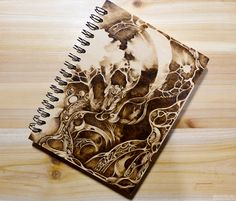 pyrography(wood burning) on wooden notebook.  YouTube video : http://youtu.be/1ksnd50liKo