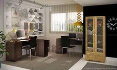 Conjunto Home Office com Mesas para Computador, Estante e 2 Cadeiras Tabaco/Rústico/Black Listrado - Caaza