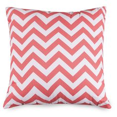 """- Large Pillow - Dimensions: 20"""" L x 8"""" W x 20"""" H - Type: Indoor - Usage: Indoor - Pattern: Chevron Coral - Made in: USA - Supportive and Comfy - Filled with Super Loft recycled Polyester Fiber Fill -"""
