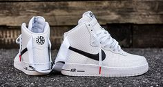 Nike Air Force 1 High Perf White Black features a full perforated leather upper with Black detailing and a basketball and star logo on the upper heel. Air Force 1 High, Air Max Sneakers, Sneakers Nike, Classic Sneakers, Leather Sneakers, Sneakers Fashion, Hypebeast, Reebok, New Balance