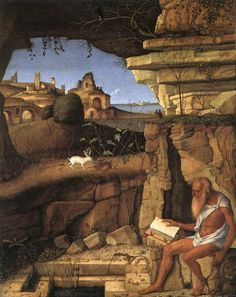 St Jerome Reading in the Countryside by Giovanni Bellini