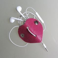 Earbud / earphone  cable organizer in fuchsia  leather handmade by RinartsAtelier