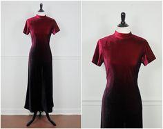 burgundy garnet maroon velvet tight bodycon ombre dip dye maxi dress grunge vintage 1990s S M on Etsy, $48.00