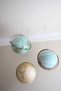 How cool would this be in a kid's room or a study?  For space lovers the globes could be painted to represent other planets as well!