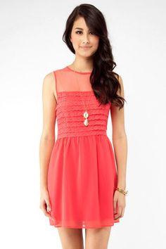 Vibrant Lace Dress in Coral $35 at www.tobi.com