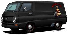 Hotrodded  60's Dodge Van.  Hard to believe before the minivan, vans had a shady rep.