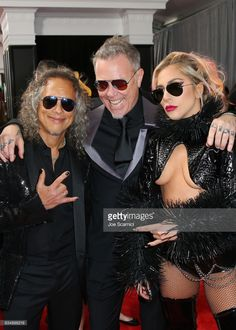 Kirk Hammett and James Hetfield of Metallica and Lady Gaga at The 59th Annual GRAMMY Awards at STAPLES Center on February 12, 2017 in Los Angeles, California.  (Photo by Joe Scarnici/Getty Images for FIJI Water)