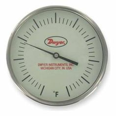 Bimetal Thermom, 5 In Dial, 50 to 550F by Dwyer Instruments. $105.83. Glow in the Dark. Glow In The Dark Dial Thermometer, Bimetal, Dial Size 5 In., Connection Size 1/2 In. NPT, Connection Location Back, Stem Length 2-1/2 In., Temp. Range (F) 50 Degrees to 550 Degrees Accuracy +/-1 Percent, Stem Dia. 1/4 In.Case Hermetically Sealed, Case Material Stainless Steel, Stem Material Stainless Steel, Window Material GlassManufacturers Warranty Length 1 yr. Specialty Bim...