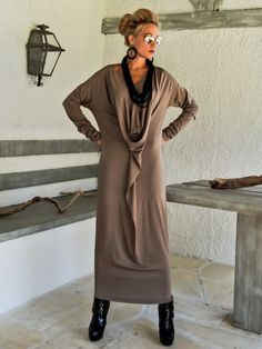 Dark Taupe Maxi Long Sleeve Dress / Dark Taupe Kaftan / Asymmetric Plus Size Dress / Oversize Loose Dress / #35092  This elegant, sophisticated,