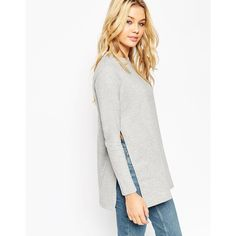 ASOS Longline Sweat With Side Splits (€30) ❤ liked on Polyvore featuring tops, hoodies, sweatshirts, grey, gray sweatshirt, asos sweatshirt, grey top, gray top and longline sweatshirt
