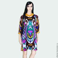 """Купить платье """"Зебо"""" - икат атласное платье, икат, восток, платье, восточный стиль"""