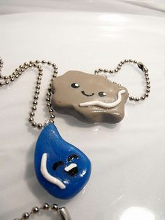 """Best Friends Couples Necklaces """"Cloud and Rain"""" polymer clay -  keychain, cell phone, earring, magnet, bobby pin - OOAK & Ready to Ship. $20.00, via Etsy."""