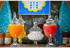 luau birthday party drink station