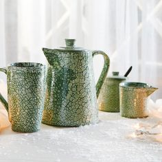 Mottled Moss Cream & Sugar Set by Sana Hastakala
