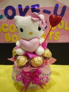Hello Kitty Plush Doll in a vase with Ferrero Rocher Chocolates. Pretty Valentine's Day Decoration