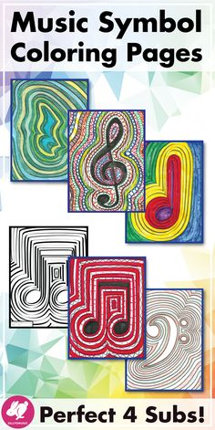 This simple set of music symbol coloring pages are fun activities for students in music class or piano lessons as a time-filler, worksheet for early finishers, a reward, and are perfect for sub plans. Kids from 1st grades to middle school enjoy them and you can color by note name, bass, alto, and treble clef, or rhythm durations. Kids are free to explore their creativity and colour the doodle art colouring sheets in different ways. They look great on bulletin boards! #sillyomusic