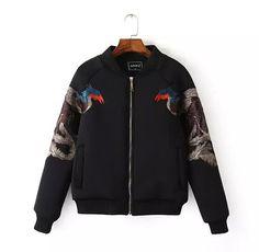 Animaux Phoenix broderie veste Punk pied de col à manches longues courtes pilotes blouson manteau ample vêtement noir Tops s m l dans Vestes Classiques de Accessoires et vêtements pour femmes sur AliExpress.com   Alibaba Group