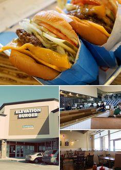 Elevation Burger- Best burgers in NOVA, locaitons in Falls Church and Tysons Corner Restaurant Dishes, Fast Food Restaurant, Tysons Corner, Fast Food Reviews, Falls Church, Hot Dog Buns, Washington Dc, Trays, Burgers