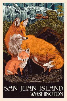 Friday Harbor, San Juan Island, WA - Fox & Kit - Lantern Press Poster