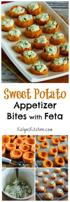 Sweet Potato Appetizer Bites with Feta and Green Onion are a delicious and healthy vegetarian and gluten-free appetizer for Thanksgiving or game-day eats! [found on KalynsKitchen.com]